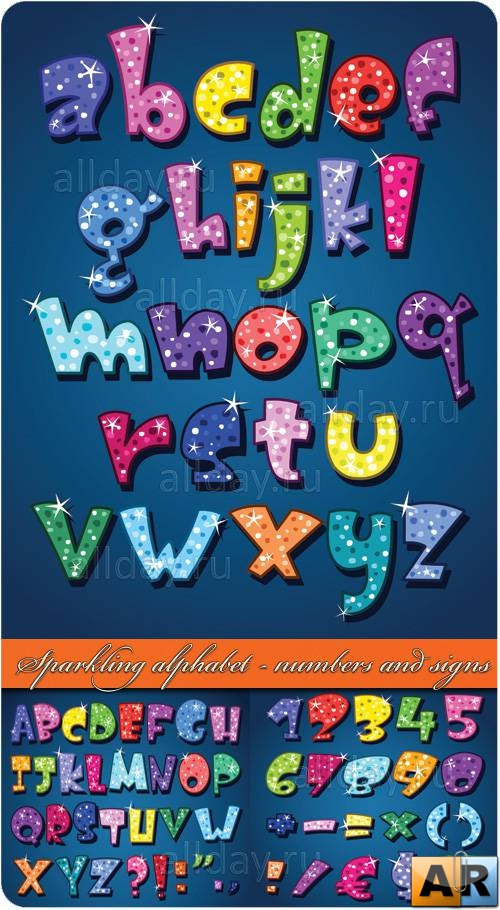 Sparkling alphabet - numbers and signs