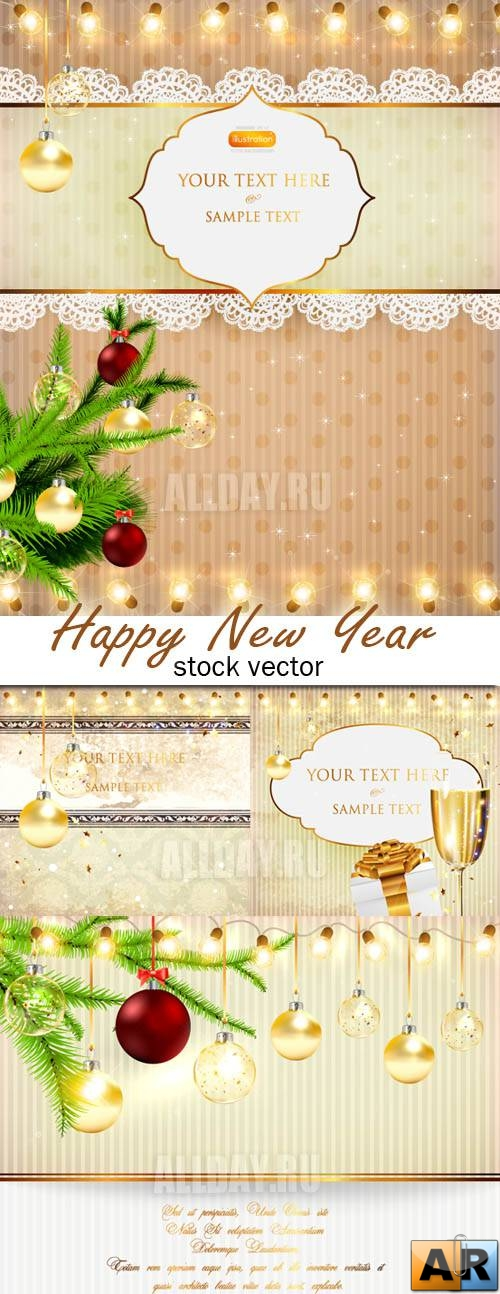 Gold New Year cards