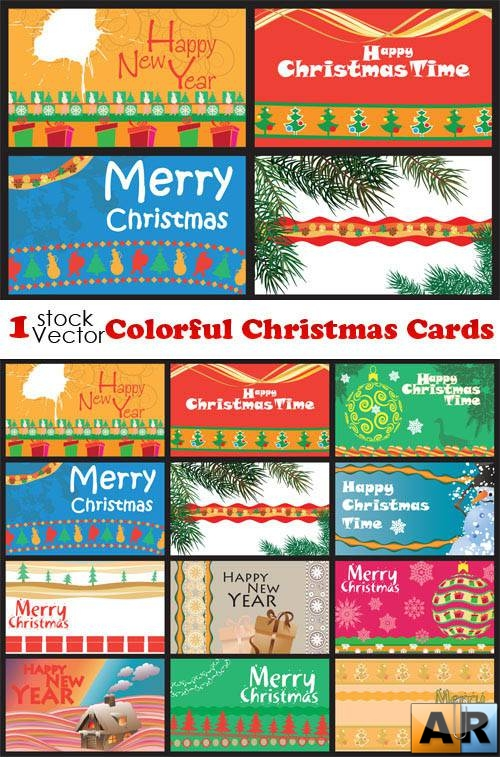 Colorful Christmas Cards Vector