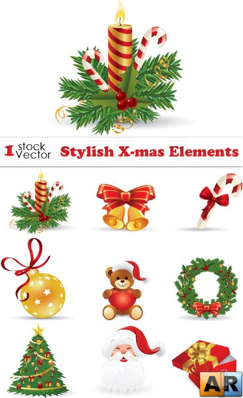 Stylish X-mas Elements Vector