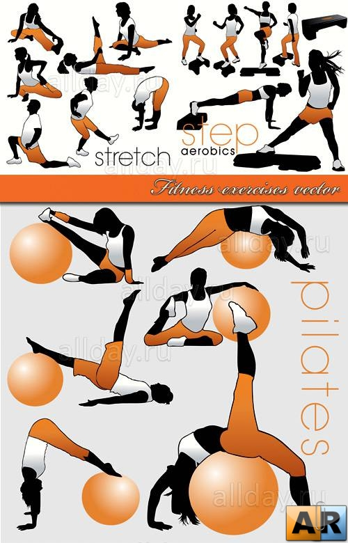 Фитнес | Fitness exercises vector