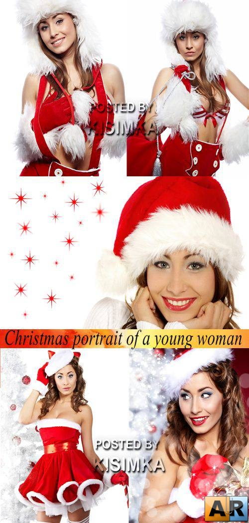 Stock Photo: Christmas portrait of a beautiful young smiling woman
