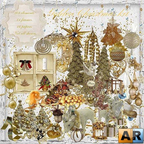 Скрап-набор – Golden Christmas Kit