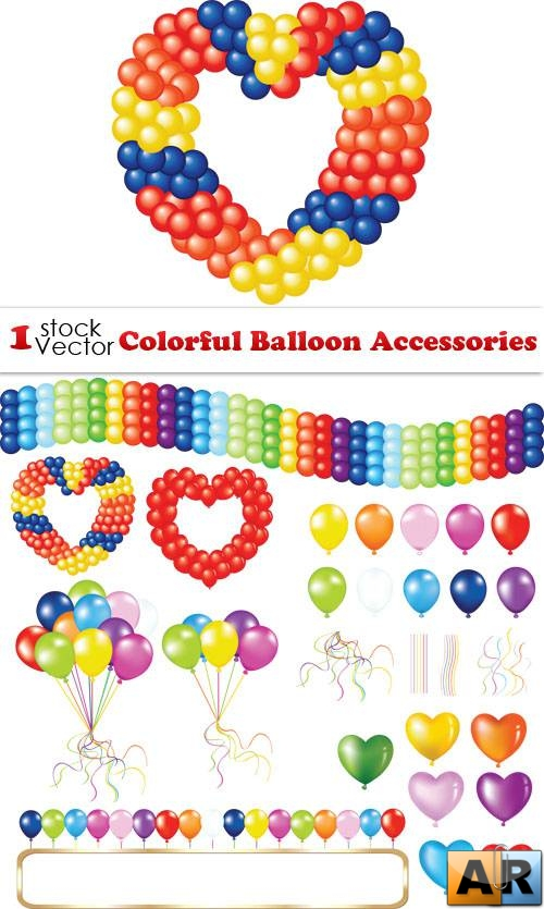 Colorful Balloon Accessories Vector