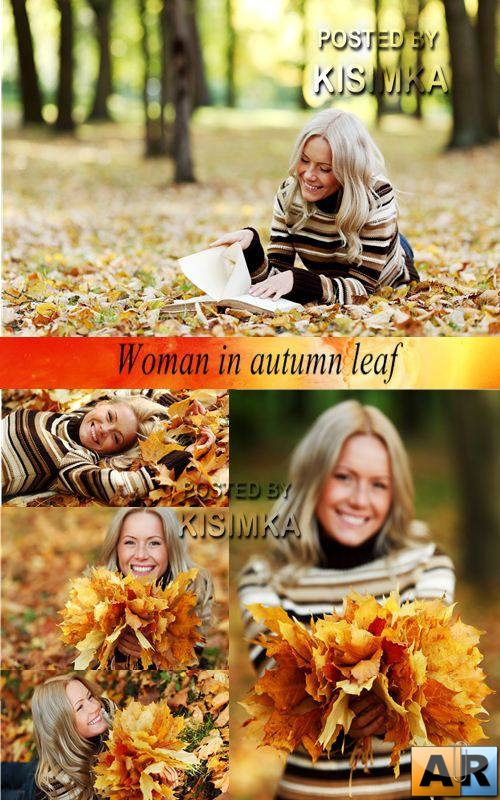 Stock Photo: Woman in autumn leaf