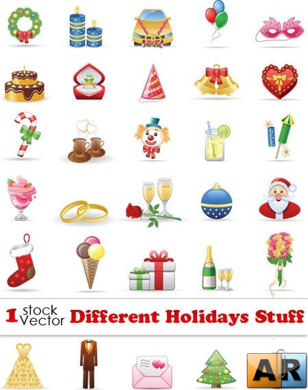 Different Holidays Stuff Vector