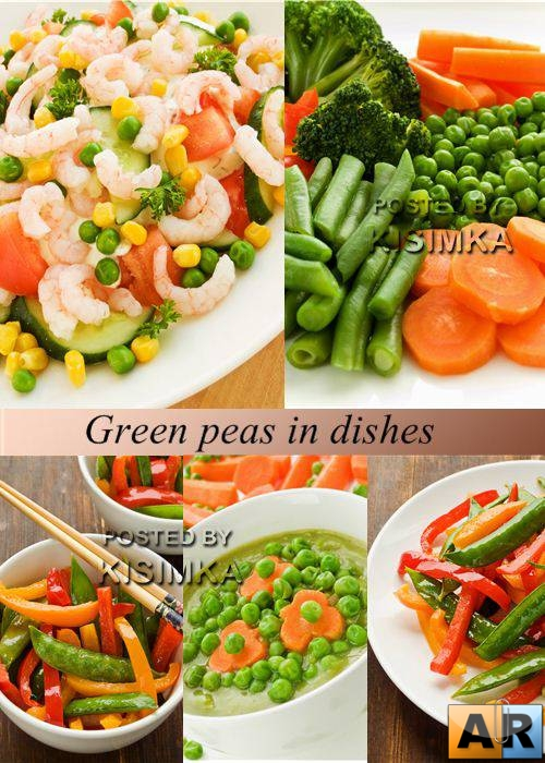 Stock Photo: Green peas in dishes