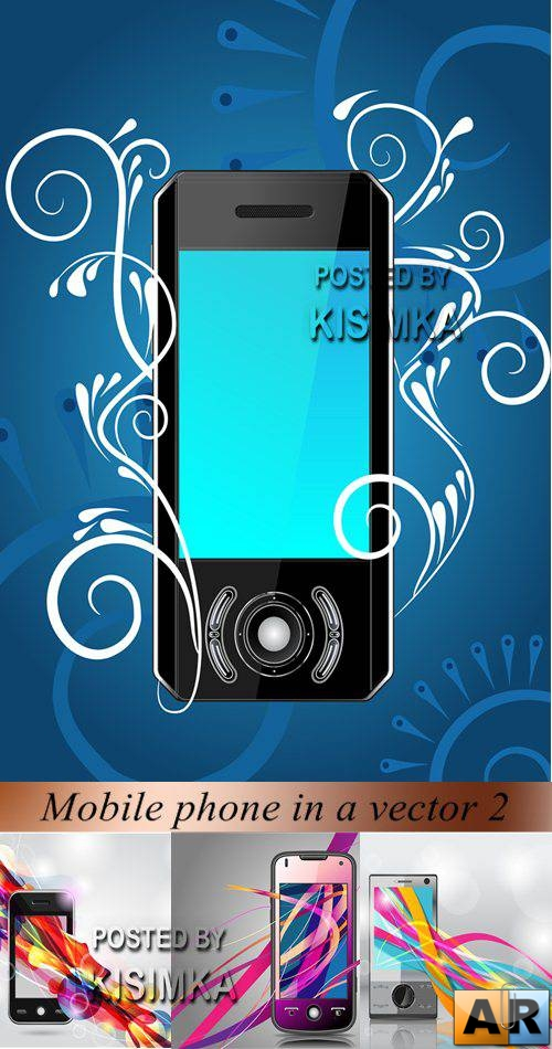 Stock: Mobile phone in a vector 2