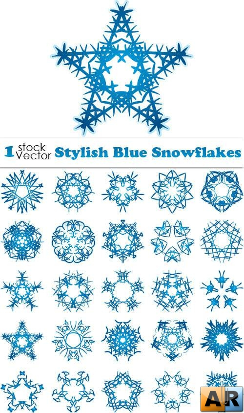Stylish Blue Snowflakes Vector