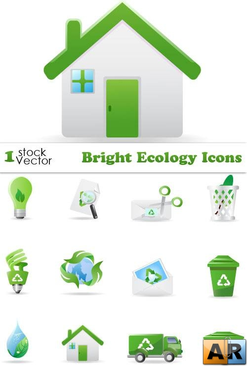 Bright Ecology Icons Vector