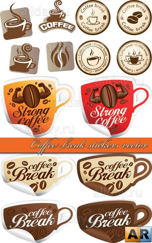 Coffee break stickers vector