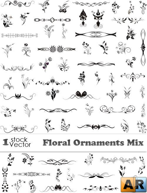 Floral Ornaments Mix Vector