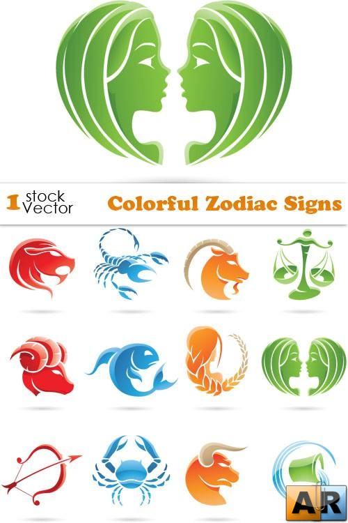 Colorful Zodiac Signs Vector