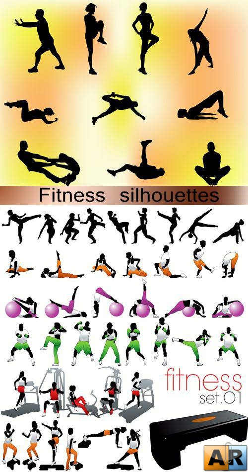 Stock: Fitness silhouettes