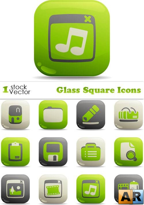 Glass Square Icons Vector
