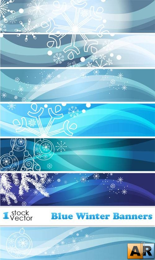 Blue Winter Banners Vector