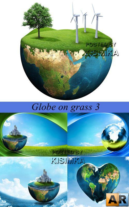Stock Photo: Globe on grass 3