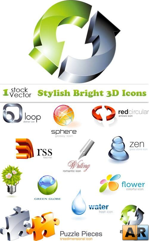 Stylish Bright 3D Icons Vector