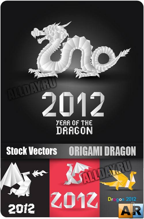 ������� ������� � ������� | Origami Dragon - Stock Vectors