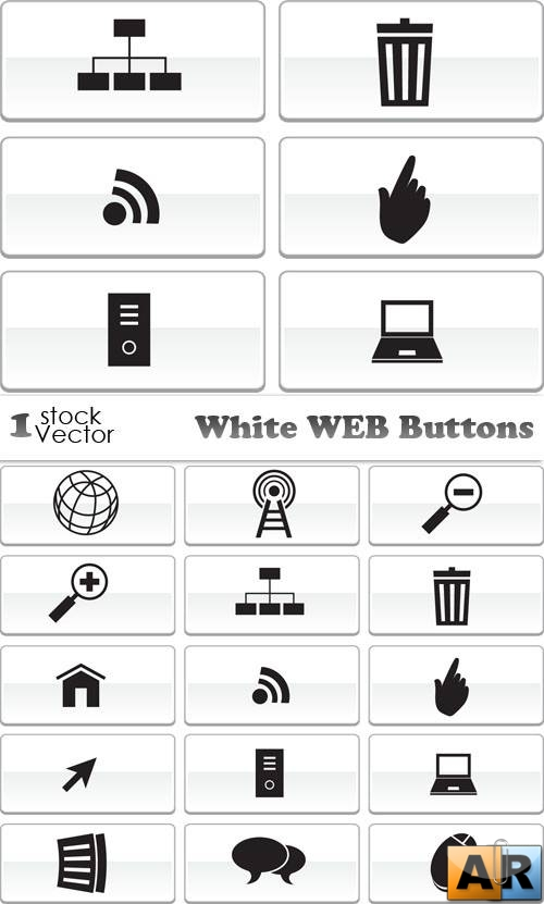 White WEB Buttons Vector