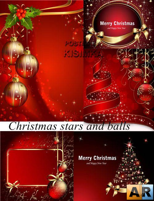 Stock: Christmas stars and balls