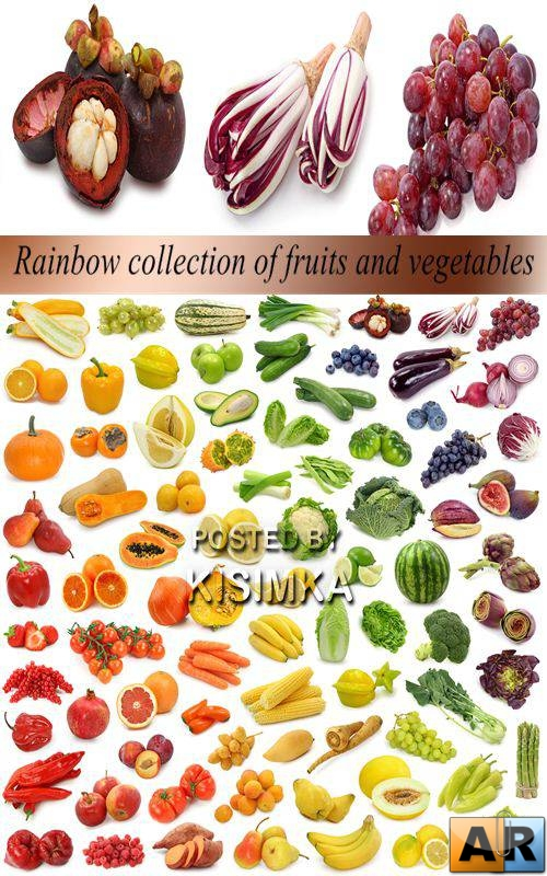 Stock Photo: Rainbow collection of fruits and vegetables