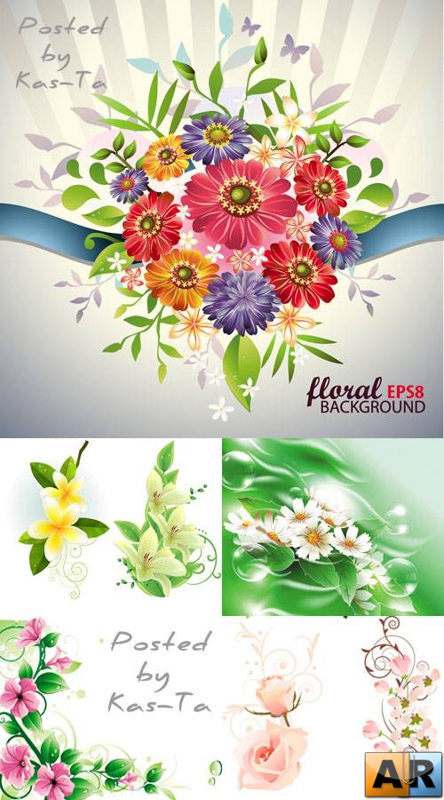 Beautiful Flowers in Vector