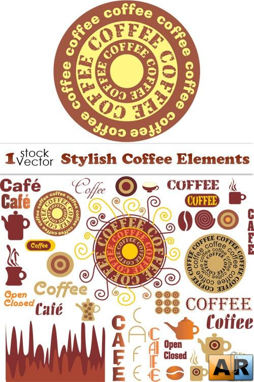 Stylish Coffee Elements Vector