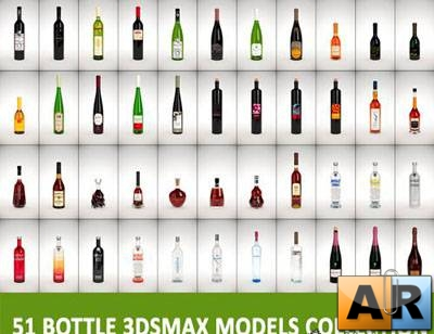 51 Bottle 3D Models Collection
