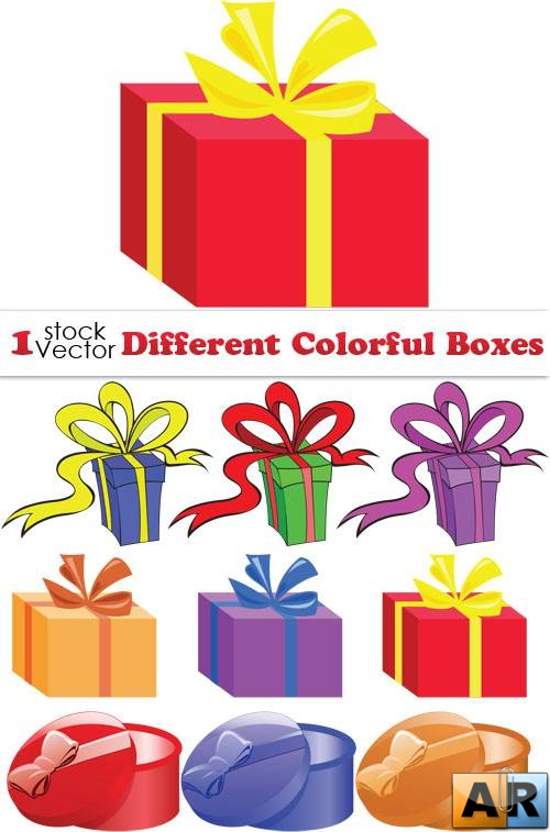 Different Colorful Boxes Vector