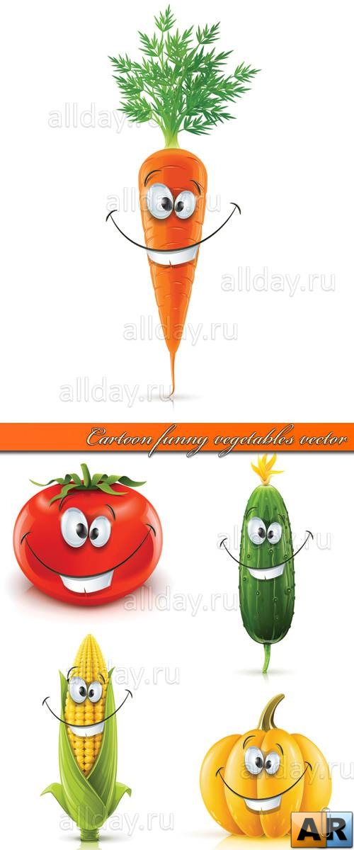 Мультяшки овощи | Cartoon funny vegetables vector