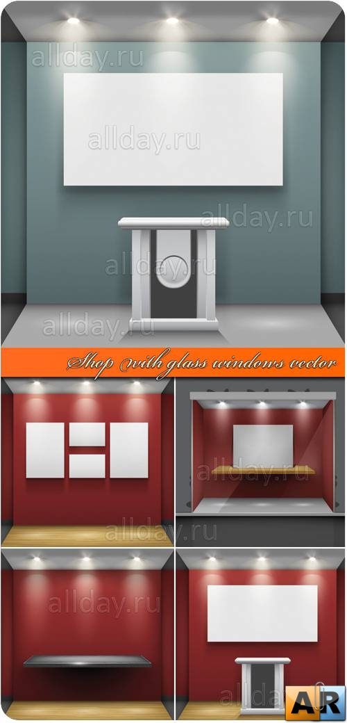 Витрина | Shop with glass windows vector