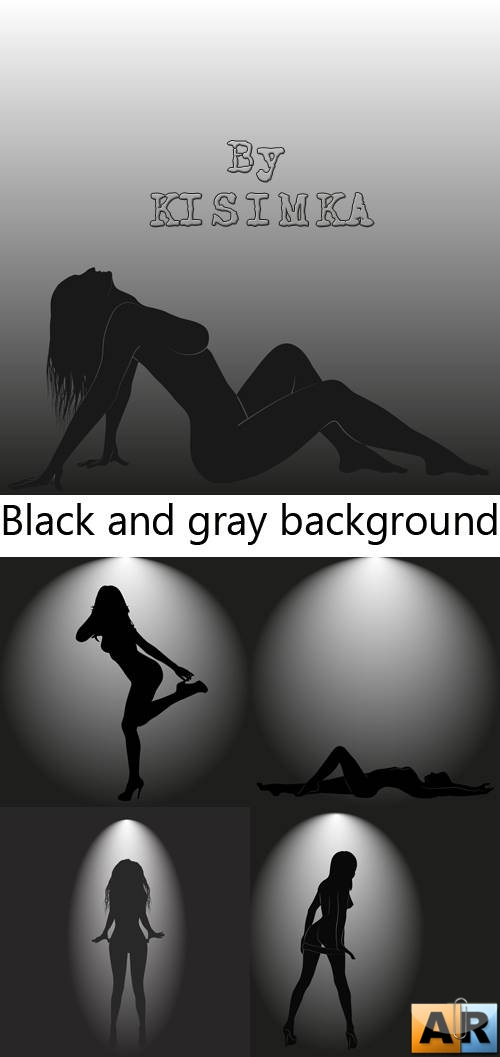 Stock: Black and gray background with a woman