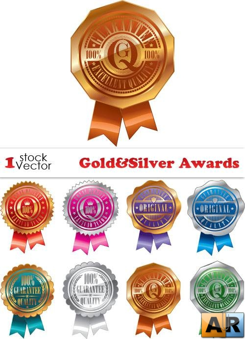 Gold&Silver Awards Vector