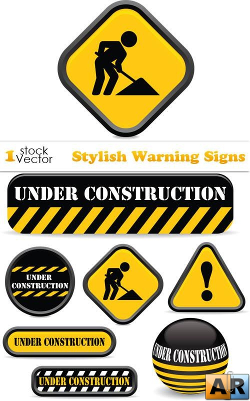 Stylish Warning Signs Vector