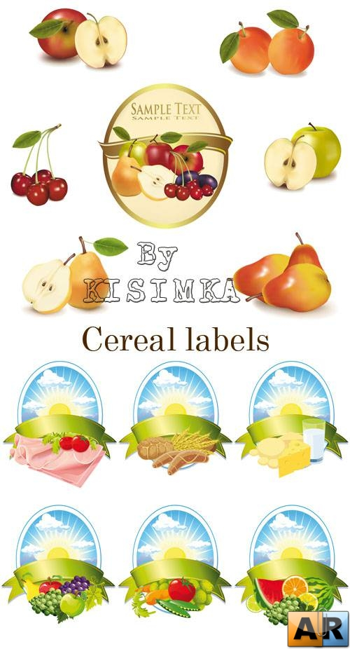 Stock: Collection of food labels - meat, milk, fruit and cereal