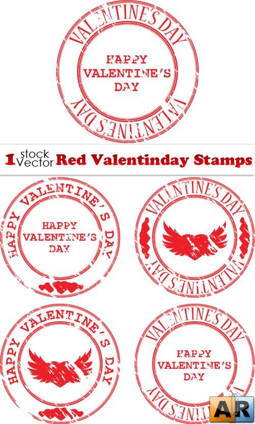 Red Valentinday Stamps Vector