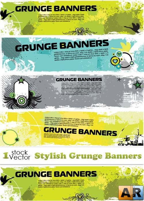 Stylish Grunge Banners Vector