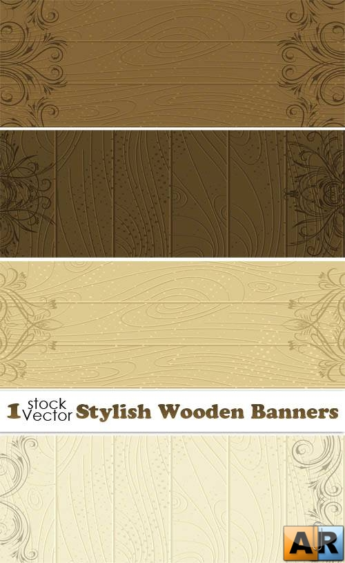 Stylish Wooden Banners Vector