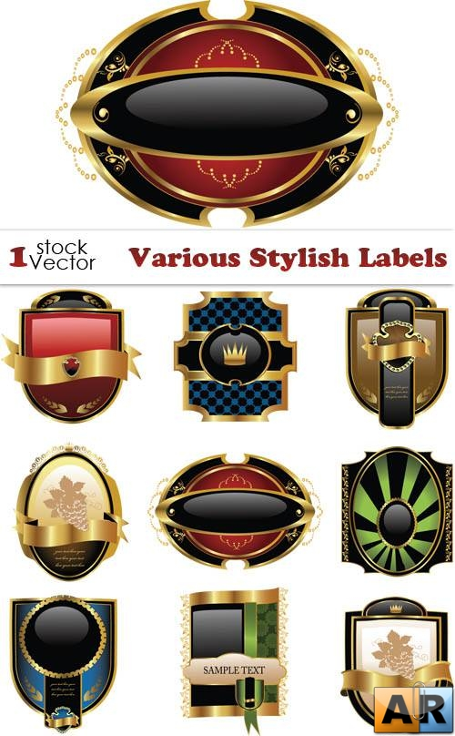 Various Stylish Labels Vector
