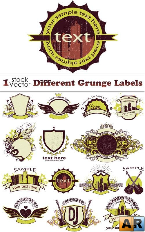Different Grunge Labels Vector