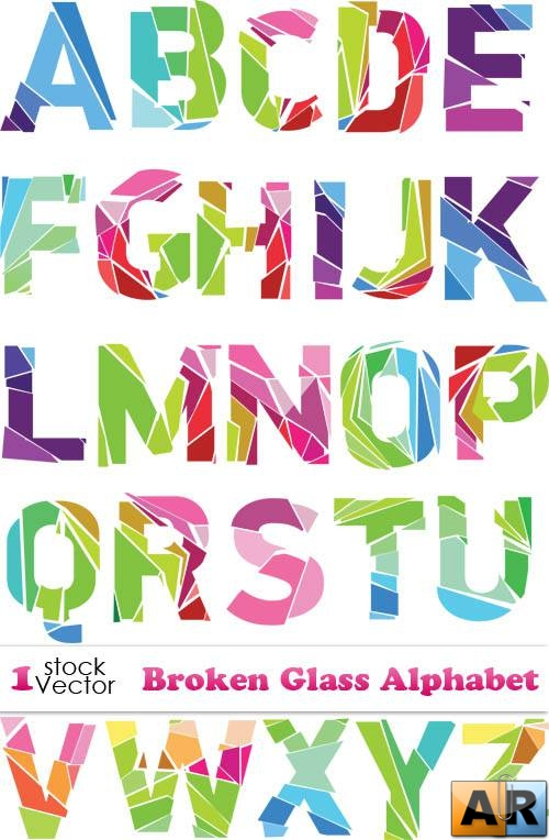 Broken Glass Alphabet Vector