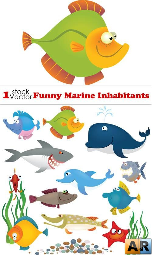 Funny Marine Inhabitants Vector