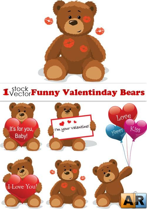 Funny Valentinday Bears Vector