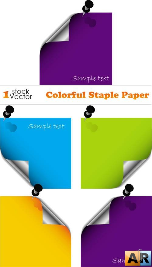 Colorful Staple Paper Vector