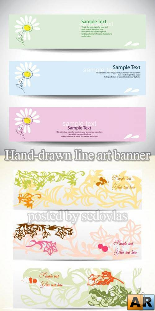 Hand-drawn line art banner - vector