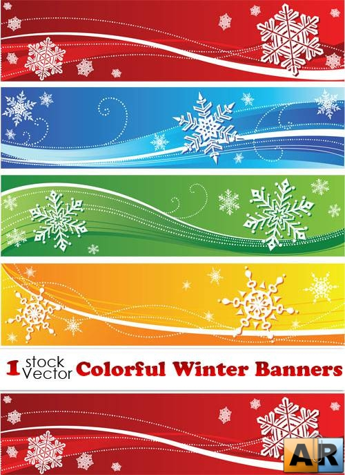 Colorful Winter Banners Vector
