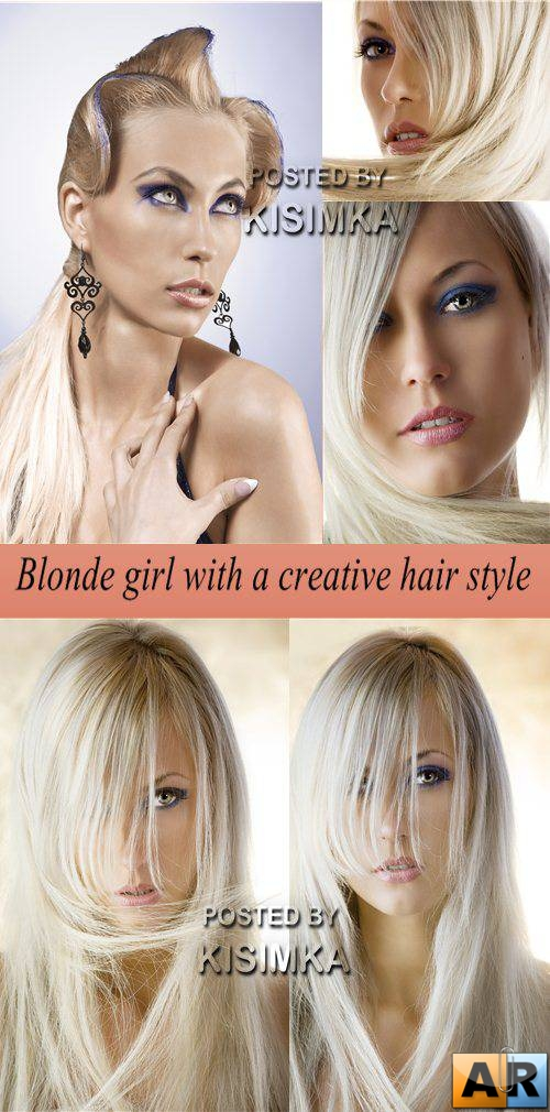 Stock Photo: Blonde girl with a creative hair style