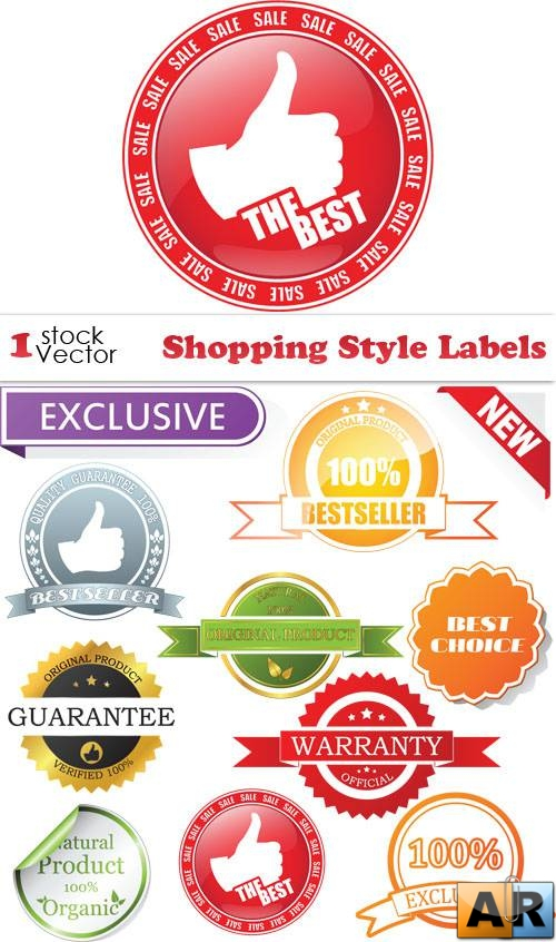 Shopping Style Labels Vector