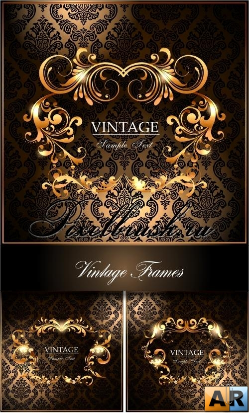 Golden Vintage Vector Frames